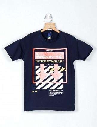 Timbuktuu navy printed cotton casual t-shirt