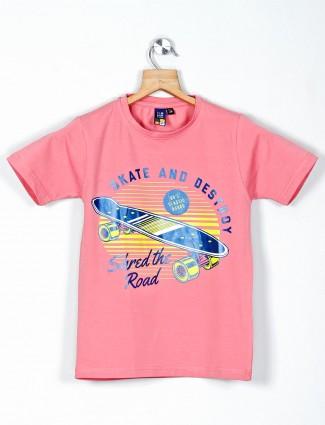 Timbuktuu pink printed cotton casual t-shirt