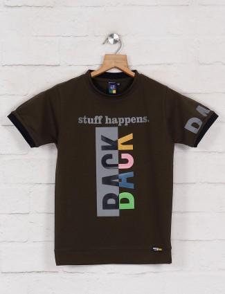 Timbuktuu printed olive cotton slim fit t-shirt