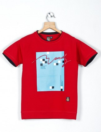 Timbuktuu red cotton printed casual t-shirt