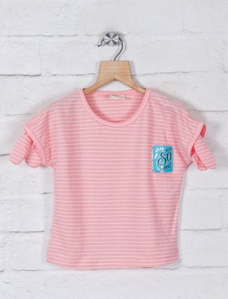 Tiny Girl cotton peach stripe style casual top