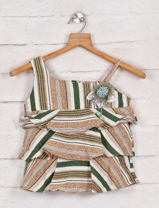 Tiny Girl green square neck top in cotton