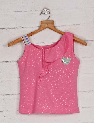 Tiny Girl pink printed cotton casual top