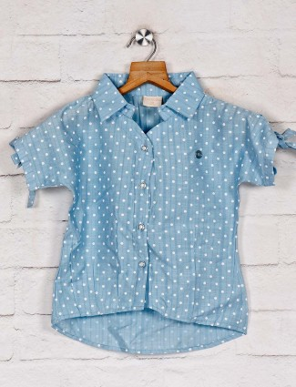 Tiny Girl printed blue top in cotton