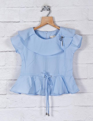 Tiny Girl sky blue solid cotton top