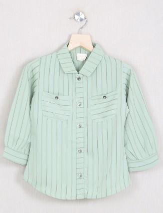 Tiny Girl stripe style pista green shade cotton top