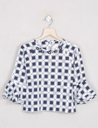 Tiny Girl white shade georgette printed top for little girls