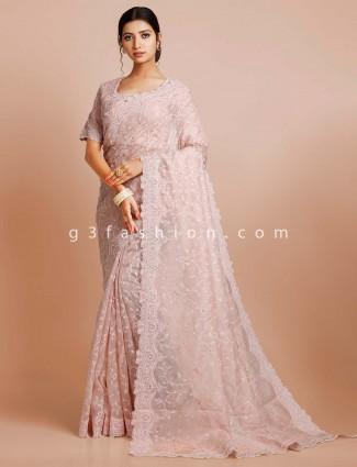 Tissue pink wedding wear saree