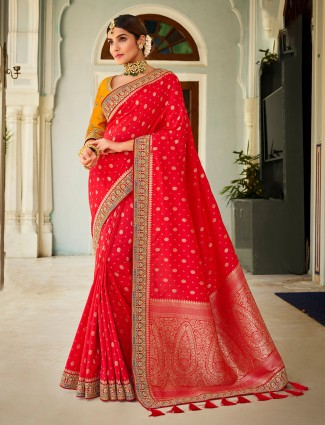 Tomato red silk saree for wedding sessions