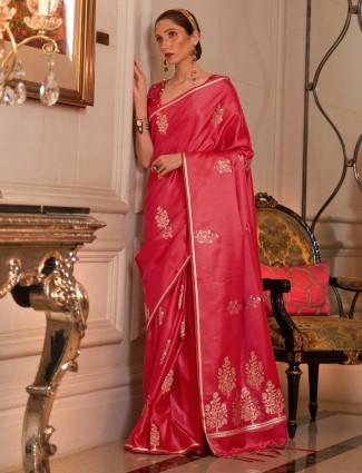 Tomato red stunning hue printed wedding silk saree