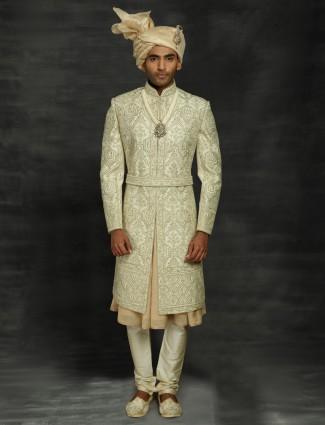 Traditional cream silk double layer sherwani for wedding