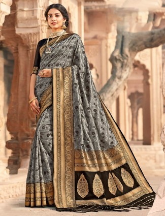 Traditional grey banarasi silk saree for wedding session