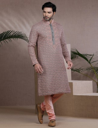 Traditional grey pure cotton silk thread woven kurta pajama