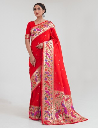 Traditional red banarasi silk saree for wedding session