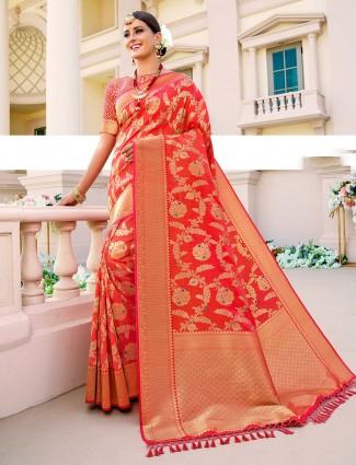 Traditional red banarasi silk saree for women