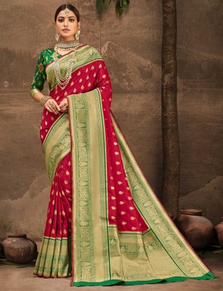 Traditional red zari weaved wedding saree