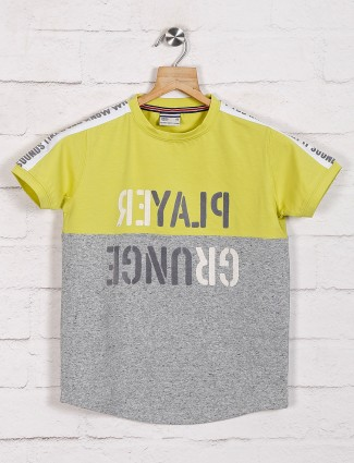 Trend lime yellow printed casual t-shirt