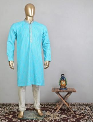 Trending aqua silk festive wear kurta suit