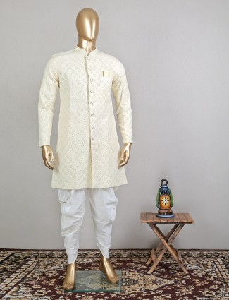Trending lemon yellow georgette wedding sherwani