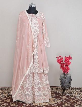 Trending peach designer lehenga style salwar suit