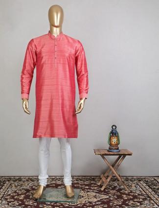 Trending pink raw silk festive wear kurta suit for mens