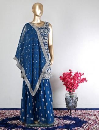 Trending teal blue designer wedding wear salwar kameez in georgette