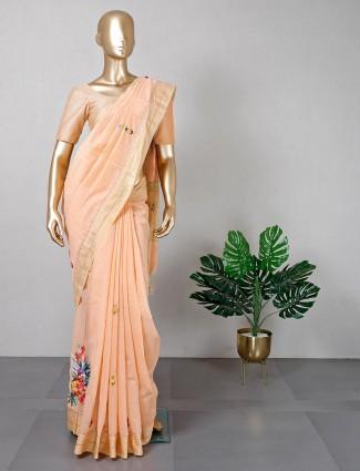 Trending peach festive wear saree in cotton