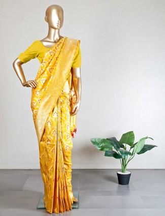 Trendy banarasi silk yellow saree