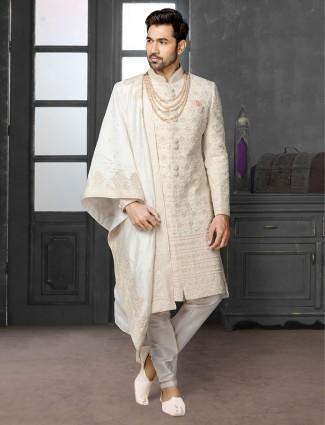 Trendy beige silk chikan style sherwani set