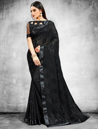 Trendy Black georgette saree for party look
