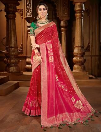 Trendy magenta dola silk saree for wedding function