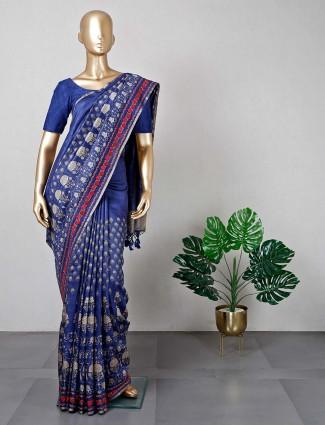 Trendy navy cotton festive wear saree