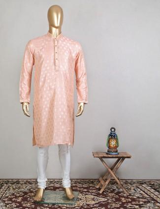 Trendy peach designer raw silk festive wear kurta suit