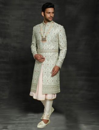 Trendy sky blue double layer sherwani in silk for groom
