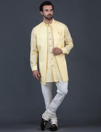 Trendy yellow solid cotton silk mens kurta suit