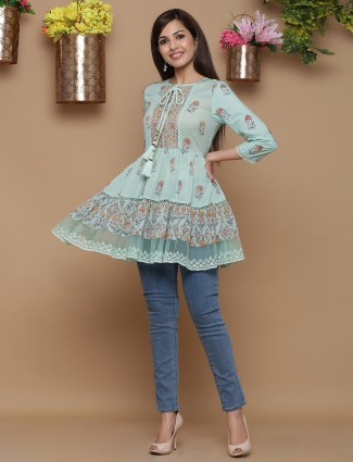 Turkish blue festive wear printed kurti in cotton
