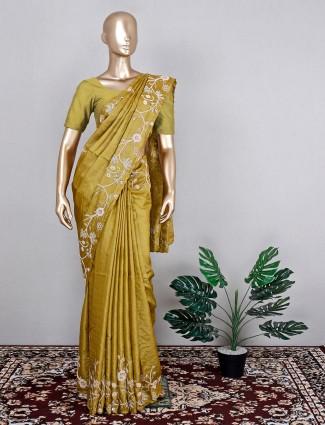 Tussar silk olive wedding wear saree