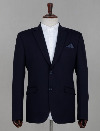 Two button terry rayon coat suit in navy