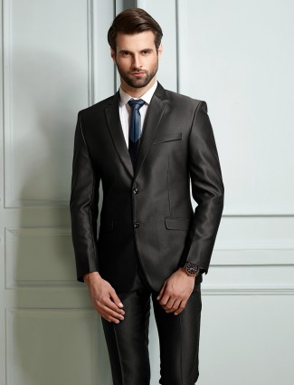 Two buttoned black color solid terry rayon coat suit