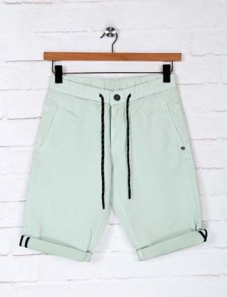 TYZ casual wear solid pista green short