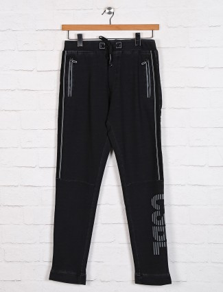 TYZ presented black cotton track pant