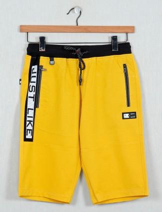 TYZ printed yellow cotton shorts