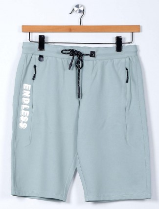 TYZ solid pista green casual wear cotton lycra shorts