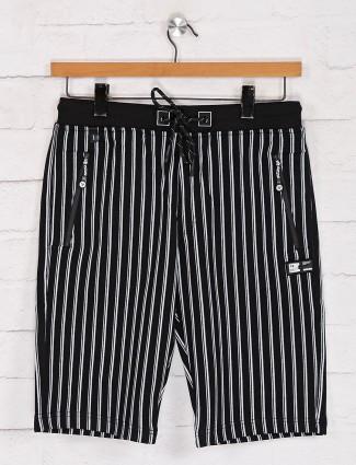 TYZ stripe black cotton shorts