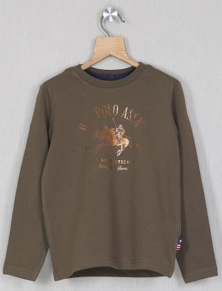 U.S. Polo Assn printed olive green shade t-shirt for boys