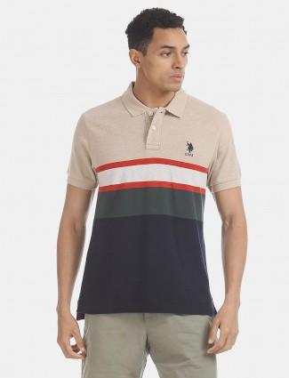 U S Polo Assn beige navy stripe t-shirt