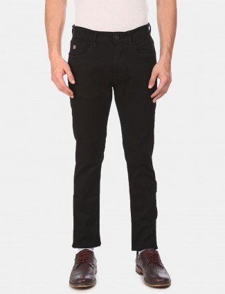 U S Polo Assn black solid slim fit jeans
