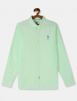 U S Polo Assn casual solid light green shirt