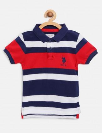 U S Polo Assn navy and white stripe t-shirt