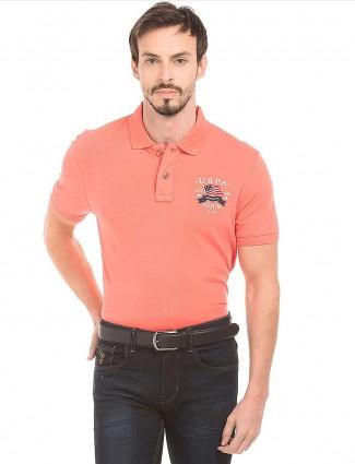 U S Polo Assn peach polo casual t-shirt